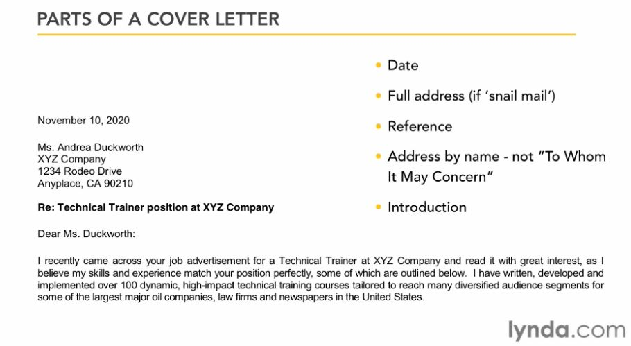 Creating A Cover Letter · Lynda  Create A Cover Letter