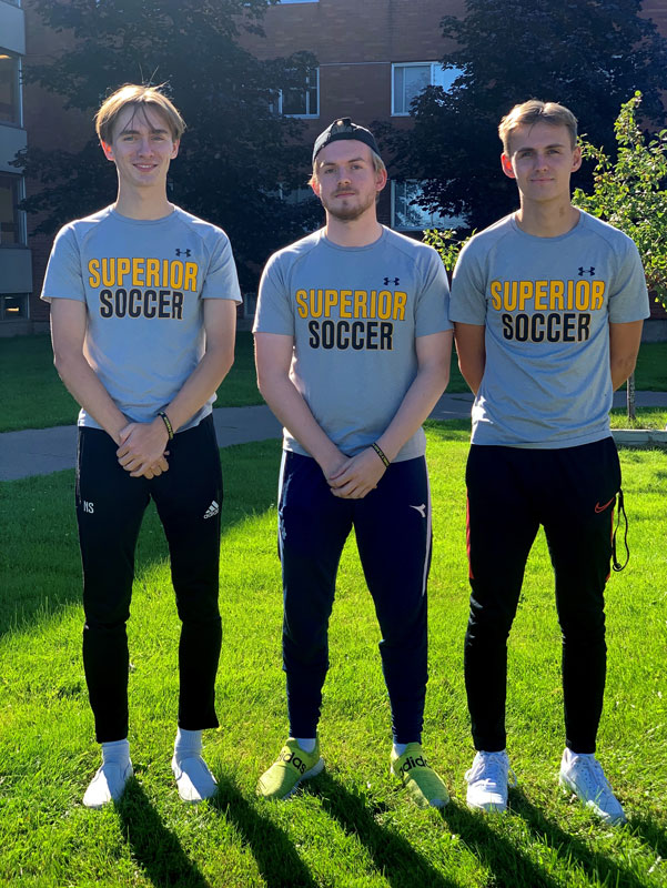 Phillip and the two Nicolai's travelled together from Norway to join the Yellowjackets soccer team and continue their studies at UW-Superior this fall.