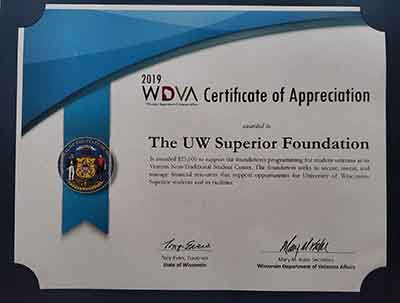 The University of Wisconsin-Superior Foundation was recently awarded a $25,000 grant from the Wisconsin Department of Veterans Affairs