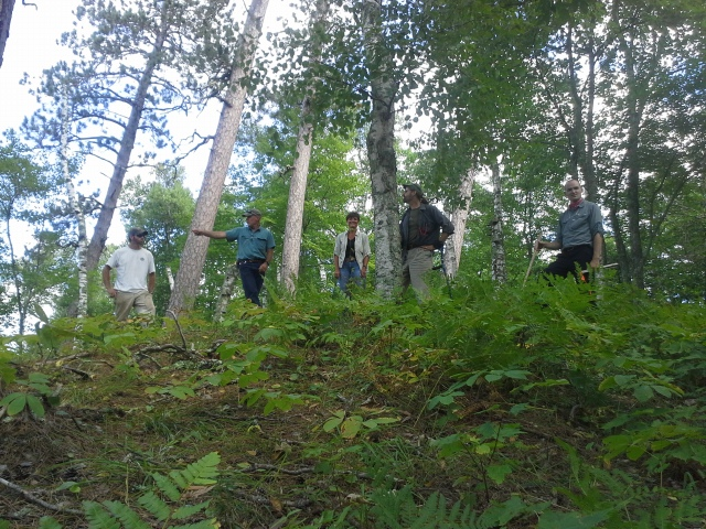 Chancellor Wachter with LSRI staff on tour of Old Growth Pine Forest on the Brule River watershed