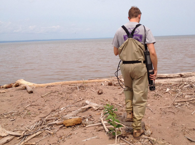 Jeremy Primus wading into Lake Superior to measure water quality at Wisconsin Point for the DNR E. coli Source Monitoring project, 2015