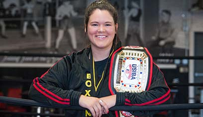 UW-Superior student Amy Lemanager competed in the United States Intercollegiate Boxing Association National Championship where she claimed victory.