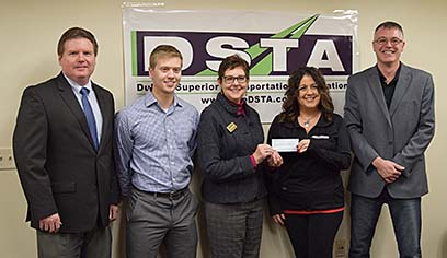L to R: Daniel Rust, assistant professor of Transportation & Logistics Management; Mark Shold, UWS Transportation & Logistics student and first recipient of a DSTA scholarship in 2018-2019; Jeanne Thompson, vice chancellor of university advancement; Leyla Aktekin, driver recruiter at Jeff Foster Trucking and past president of DSTA; Jay Baker, sales manager at Sliding Systems, Inc., past president of DSTA and UWS T&L alumnus '08