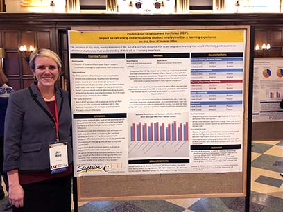 Jen Bird, Director of Student Development, showcased her research poster at the UW System Spring Conference on Teaching and Learning.