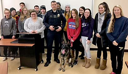 Superior Police Department K-9 Unit-Officer Jeff Harriman and K-9 Lacka gave a presentation and demonstration to the criminal justice 207 Police & Society class.