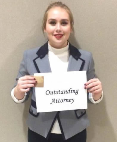 Karlie Mattson Wins Outstanding Attorney Award for Mock Trial