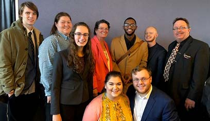 UW-Superior's Mock Trial Team (from left, back row) Alex DeBlaey, Desiray Matthews, Autumn Bass, coach Maria Cuzzo, Julian Williams, Jeb Leone, Scott Holmes;  (from left, front row)  Bella Gigliotti and Kenneth Benz.