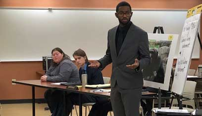 UW-Superior Mock Trial team member Julian Williams presents defense closing. UWS hosted the mock trial team from UMD for a scrimmage on Sunday, Jan. 20.