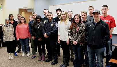 UW-Superior Pre-Law Society and the Criminal Justice Student Association met with Superior Police Chief Nick Alexander. (Photo by Ivy Vainio)