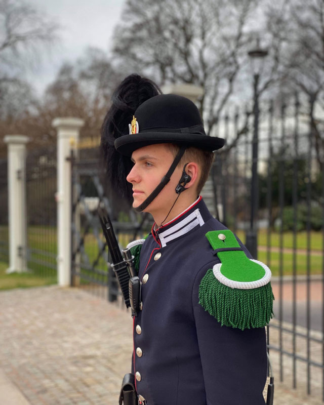 Phillip in His Majesty The King's Guard's uniform, guarding the royal residence in Norway.