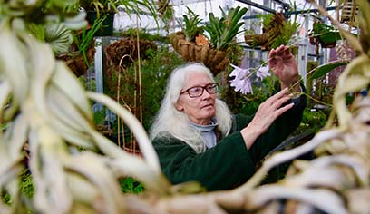 Robbye says goodbye to the plants she has cared for throughout her 40 years as greenhouse horticulturist.