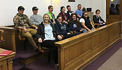 Students in Judge George Glonek's courtroom at the Douglas County Courthouse.