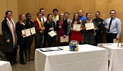 Alpha Phi Sigma honorees for 2017 included Chapter Advisor Dr. Maria Stalzer Wyant Cuzzo, Sydney Mastey, Edriana Dennard, President Taavi Mattson, Vice President Luke Jacques, Secretary Kahley Kallberg, Senior Gabriel Hendrickson, Melody Maleski, Benjamin Olson, Darien Bottila, Christopher Cassandro, Erica Bauer, Superior Police Department Chief Nick Alexander and Douglas County District Attorney Mark Fruehauf.