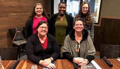 From front, Kay Biga, current Northeastern Chapter Minnesota Women Lawyers Association Liaison member of Board of Directors, Maria Stalzer Wyant Cuzzo;  back row: UW-Superior Legal Studies students Arabella Gigliotti, Edriana Dennard and Autumn Bass.