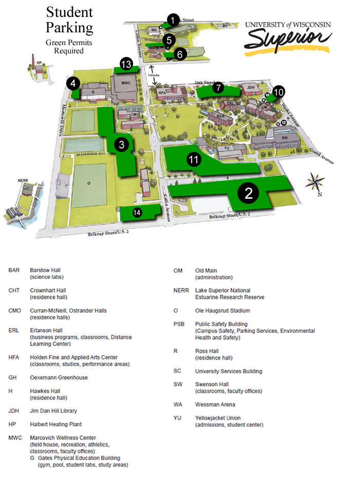 Parking Map: Students Green Permit