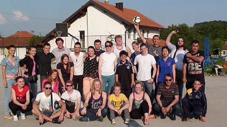 UW-Superior students with friends in Bosnia
