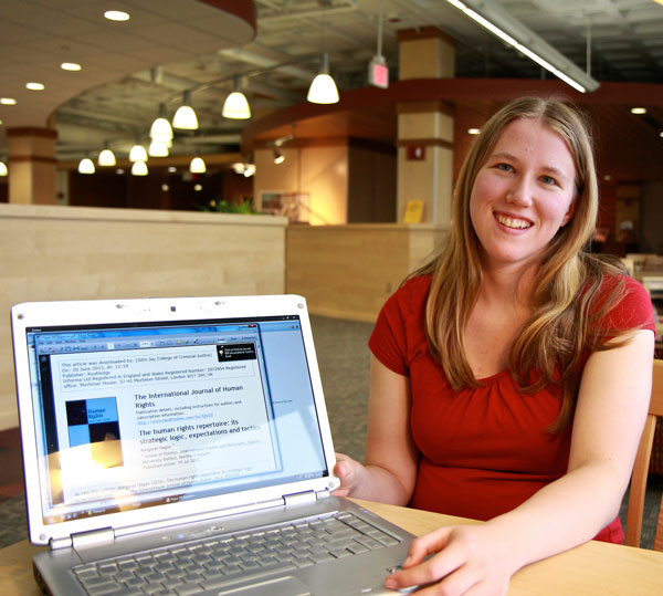 Undergraduate student Rebecca Anderson researches human rights.