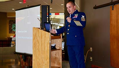 As part of UW-Superior's Veterans Week events, Chief Nicholas Sawyer was guest speaker for the presentation Being LGBT+ in Military Leadership.